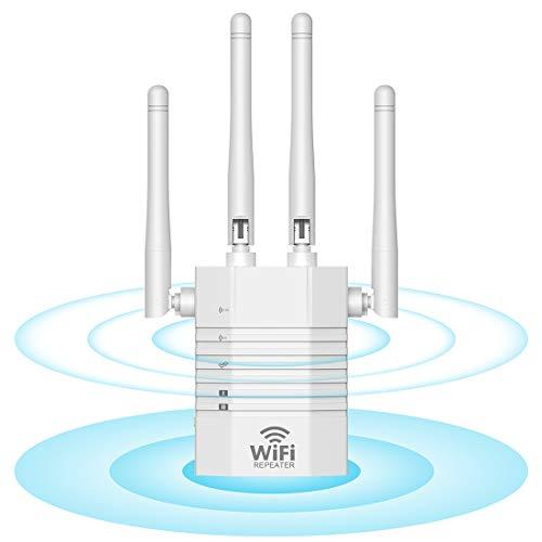 Getue Amplificador Señal WiFi 1200Mbps Repetidor WiFi (5GHz/867Mbps+2.4GHz/300Mbps), Amplificador WiFi con Ap/Repeater/Router Modos