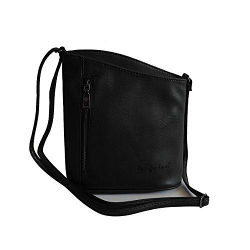 Jennifer Jones - kleine -DamenHandtasche Clutch Umhängetasche Abendtasche Ausgehtasche Schultertasche - präsentiert von ZMOKA® in versch. Farben (Schwarz)