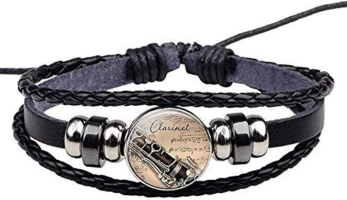 BMGFEW Armband Armband Instrument Klavier Gitarre Klarinette Flöte Musik Leder Armband Musik Notizen Schmuck Damen