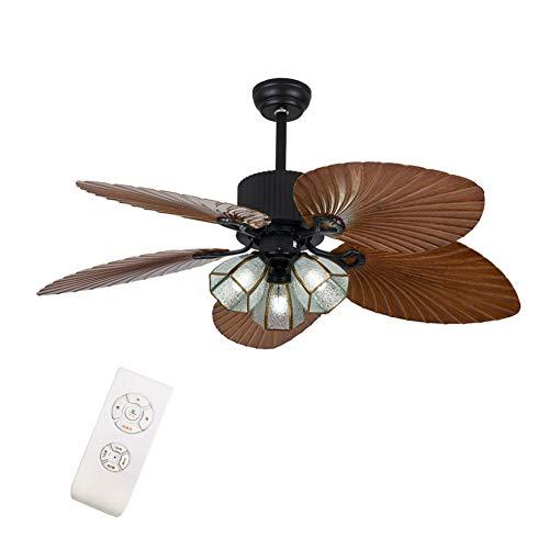 OUKANING Deckenventilator mit Beleuchtung und Fernbedienung 52 Inch Industrial Fan und Zugschalter Deckenleuchte Vintage Retro Deckenventilator Kronleuchter Antik Fan Moderne Deckenlampe