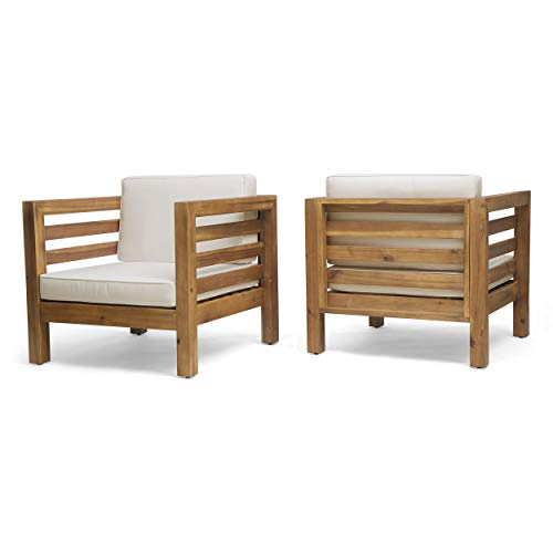 Louise Outdoor Acacia Wood Club Chairs with Cushions (Set of 2), Teak Finish and Beige