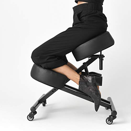 SLEEKFORM Kneeling Chair Height Adjustable | Ergonomic Posture Correcting Knee Stool for Bad Back Support, Neck Pain Relief, Computer Desk | Orthopedic Faux Leather Knees Cushions | Universal Wheels