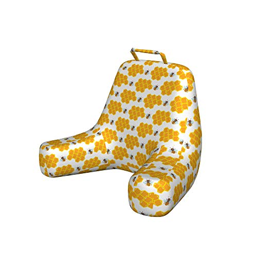 Ambesonne Cartoon Reading Pillow Cover, Bumble Bee Along Honey Comb Pattern Hexagonal Children Themed Illustration, Unstuffed Printed Bed Rest Case from Soft Fabric, XL Size, Orange and White
