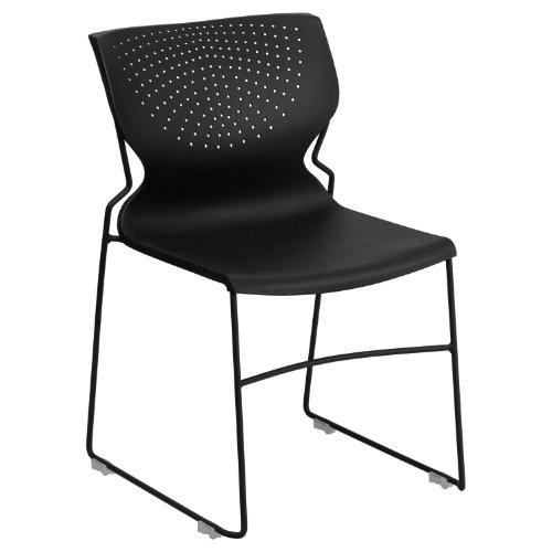 Flash Furniture HERCULES Series 661 lb. Capacity Black Full Back Stack Chair with Black Powder Coated Frame