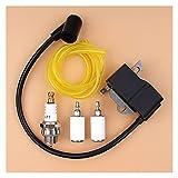 Bobina de encendido Kit de línea de filtro de combustible para bujía compatible con H-USQVARNA 125E 125C 125L 125R 125RJ 128R 128LD 128C 128CD Accesorios para desbrozadora Desbrozadora