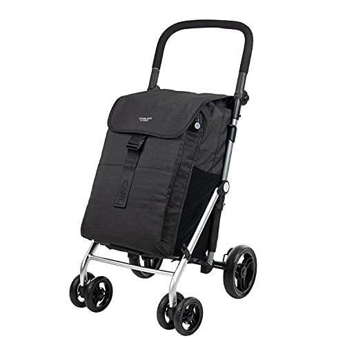 CARLETT | Einkaufstrolley mit 4 Rädern | Lett470 CLASSIC family | Zusammenklappbarer Einkaufswagen mit großer Tasche 32kg, 64L Einkaufstasche, 10,5L Thermotasche und Rückfach | Volcano Schwarz