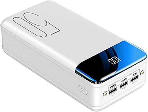 Power Bank 50000Mah Cargador Portátil De Gran Capacidad, Batería Externa con 3 Puertos De Entrada Y Salida USB Paquete De Batería De Carga Rápida USB-C para Smartphone Samsung Huawei,Blanco