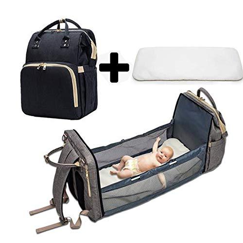 Rosemaryrose 3 en 1 cama plegable de viaje, estación de cambio de pañales portátil, mochila para momia, moisés portátil para bebé y niño, cuna de viaje, nido de bebé con colchón