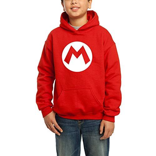 Desconocido Mario Adventure Sport - Sudadera con Capucha y Bolsillo para niños (12 años, Rojo)