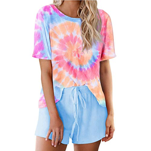 Xniral Damen Pyjama Schlafanzug Kurz Tie-Dye Bedruckte Nachtwäsche Nachthemd Hausanzug Set Kurzarm Rundhals-Ausschnitt für Sommer (B Rosa,M)