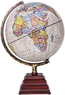 """Waypoint Geographic Light Up Globe - Peninsula II 12"""" Illuminated Antique Ocean Style World Globe with Wood Stand for Desk, Bookshelves, Office, Home Decor - Up to Date, Beige - Illuminated"""