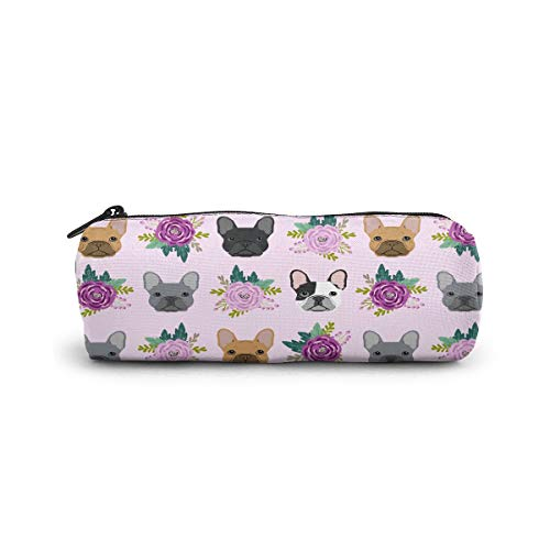 French Bulldog Frenchie Florals Zipper Pencil Case Pen Pouch Work Office Craft Supplies For Boys Girls Students