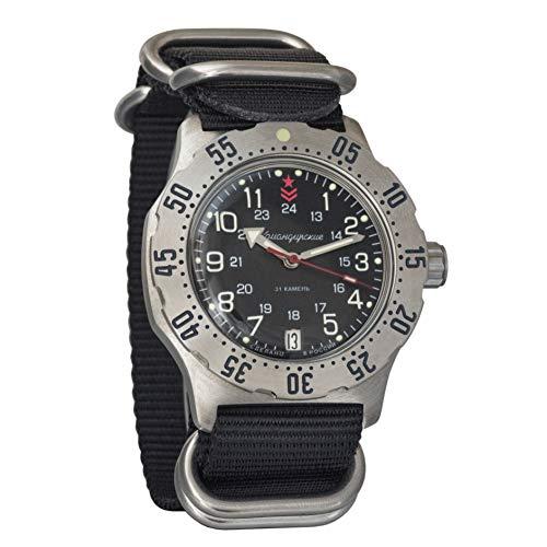 Vostok Komandirskie K-35 Automatik-Armbanduhr, russisches Militär, Schwarz, Zulu NATO Band #350751