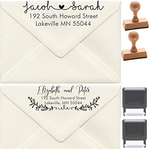 Custom Address Stamp Personalized - Wedding Invites Favor Thank You Stamper 10 Designs to Choose!! Customized Stamper Self Inking Return Mail 3 4 Lines Stamp, Self-Inking Ink Rubber Wood