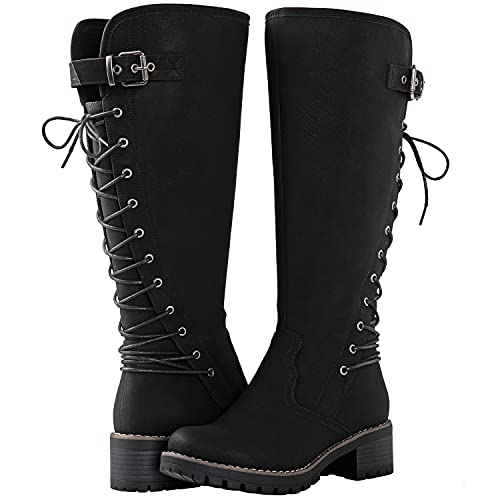 GLOBALWIN Women's Chunky Heel Black Lace Up Back Knee High Fashion Boots 9M