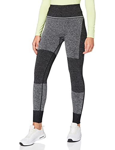 Marca Amazon - AURIQUE Mallas de Deporte sin Costuras de Tiro Alto Mujer, Negro (Black), 38, Label:S