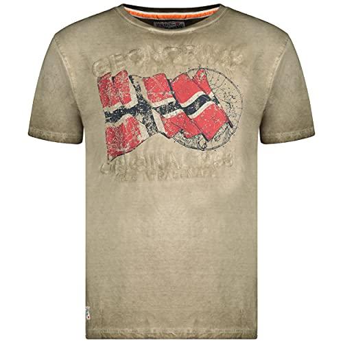 Geographical Norway JAPORAL Men – Camiseta de algodón para Hombre – Camiseta clásica con Logotipo – Ropa Corporal de Manga Corta – Cuello Redondo, Corte Regular