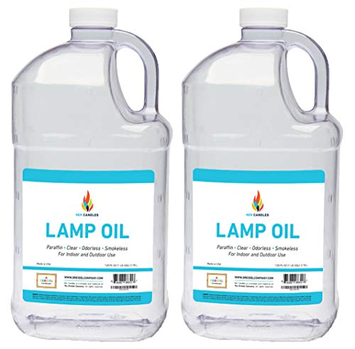 Liquid Paraffin Lamp Oil - 1 Gallon - Smokeless, Odorless, Ultra Clean Burning Fuel for Indoor and Outdoor Use (2-Pack)