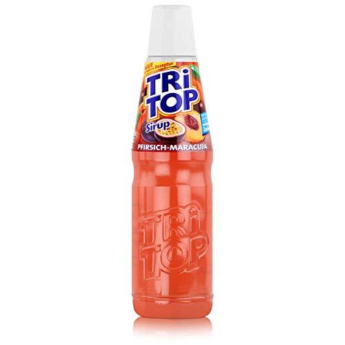 TRI TOP Pfirsich-Maracuja | kalorienarmer Sirup für Erfrischungsgetränk, Cocktails oder Süßspeisen | wenig Zucker (1 x 600ml)
