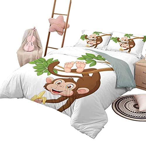 3-teilige Bettwäsche-Sets Cartoon Weiche Ganzjahres-Baumwollmischung Tagesdecke Lustiger AFFE, der vom Baum mit Bananendschungeltieren hängt Thema Maskottchen-Druck in voller Größe Schokoladenweiß