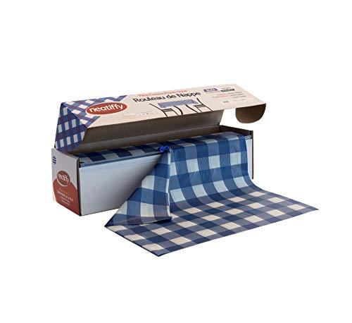 Neatiffy 137.2 cm x 32.9 m Rollo De Mantel De Plástico Desechable Con Cortador, Fiesta / Picnic / Banquetes Cubierta De Mesa Para Rectángulo, Ovalado, Mesas Redondas, Blue Checkered