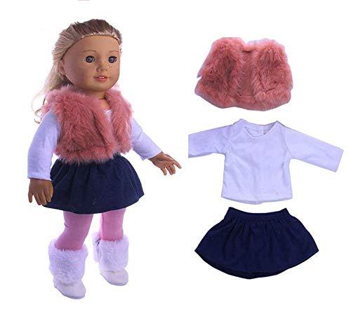 Ropa de muñeca cálida y bonita de invierno de piel sintética chaleco blanco camiseta y pantalones traje de accesorios para niña americana de 45,72 cm, accesorios de regalo para niña de juguete