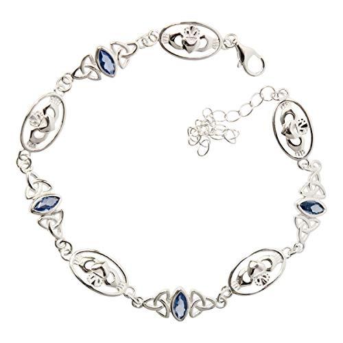 GWG Jewellery Pulseras Mujer Regalo Pulsera Brazalete, Plata de Ley con Claddagh y Triquetras Celtas de Trinidad Adornadas con Cristales de Color Turquesa Azul para Mujeres