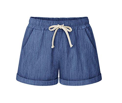 WSLCN Femme Bermudas Shorts Décontractée Été Hot Pantacourts Coton Lin Shorts Casual Pantalon Courte Yoga Pants Coupe Grande Taille Corde Bleu Taille FR 48 (Asie 5XL)
