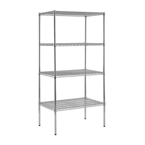 Sandusky Lee WS362474-C Chrome Steel Wire Shelving, 4 Adjustable Shelves, 800 lb. Per Shelf Capacity, 74' Height x 36' Width x 24' Depth, 4 Shelves