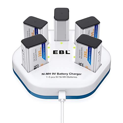 EBL 9V Akku 5er Pack mit Akkuladegerät - Typ NiMH 9 Volt Block wiederaufladbare Batterien mit USB 9volt Akku Ladegeräte