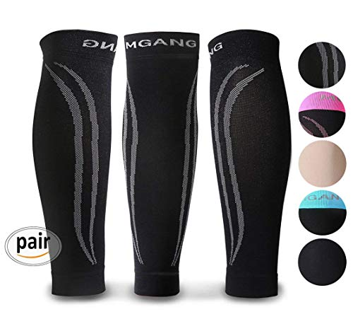 Calf Compression Sleeve, 1 Pair Unisex, Strong Calf Support 20-30mmHg, Best for Calf Pain & Swelling Relief, Shin Splint, Varicose Veins, Muscle Recovery, Travel, Nursing, Running, Cycling, Black XXL