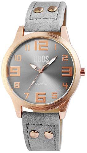 QBOS Damenuhr Grau Rosègold Analog Metall Leder Quarz Armbanduhr