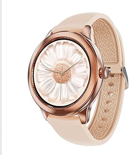 Pantalla a color redonda pantalla completa pulsera de las mujeres sueño Monitoreo inteligente impermeable reloj oro