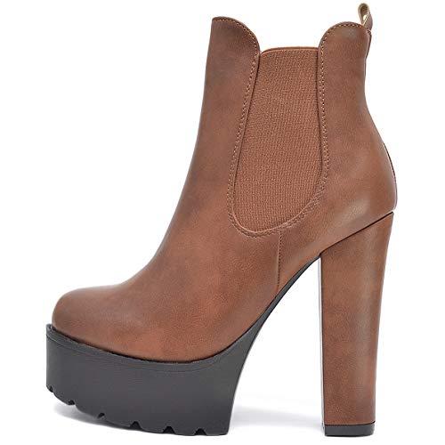 Vain Secrets Damen Chelsea Plateau Boots Stiefeletten mit Absatz Profil Sohle (36 EU, Braun M16)