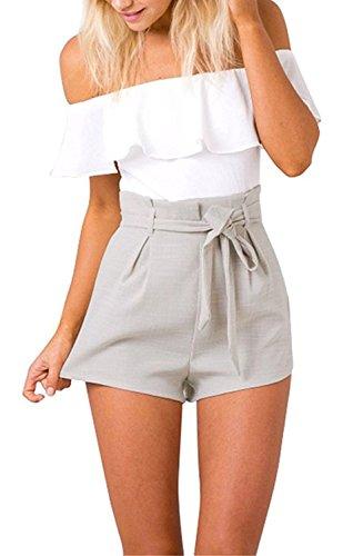 Damen Sommer Elegant Trägerlos Rückenfrei Overall Hose Playuit Jumpsuit Romper Bodysuit Freizeit Spleißen Weiß DE 34