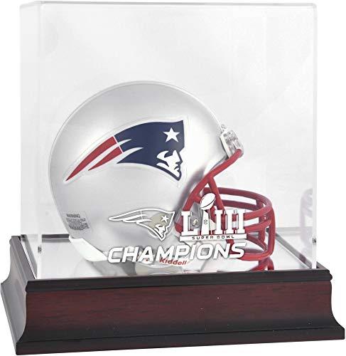New England Patriots Super Bowl LIII Champions Mahogany Mini Helmet Logo Display Case - NFL Mini Helmets