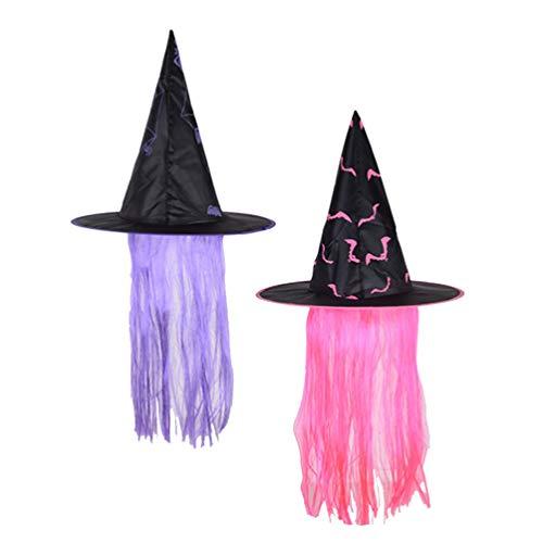 PRETYZOOM - Sombrero de bruja para Halloween, 2 unidades, diseño de bruja