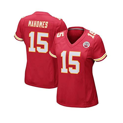 WSF Jersey Kansas City Chiefs Team Damen Rugby-Trikot 15 Mahomes Tech Atmungsaktives Kleid Fußball Trikot T-Shirt Rugbyanzug, rot, Größe S
