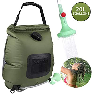 Camping Solar Shower Bag 5 gallons/20L Solar Heating Bag with On-Off Switchable Shower Head and Removable Hose for Outdoor Traveling Hiking