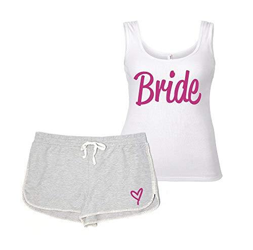 60 Second Makeover Limited Braut Pyjama Set Henne Do Junggesellinnenabschied Hochzeit Pj Hausanzug Lounge Wear Grau und Weiß - grau, Medium (UK 12)