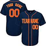 SOOONG Navy Custom Baseball Jersey for Men Women Youth Throwback Embroidered Team Player Name & Numbers