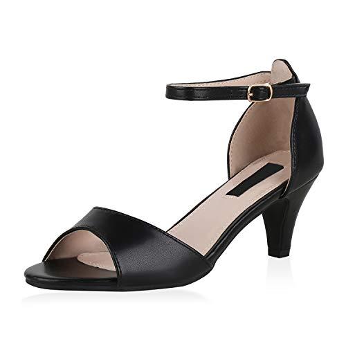 SCARPE VITA Damen Riemchensandaletten Klassische Sandaletten Leder-Optik Schuhe Stiletto Absatzschuhe Basic Party 176725 Schwarz Total 41