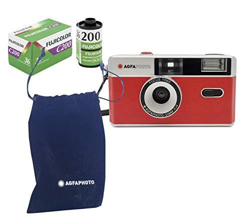 AgfaPhoto - Videocamera analogica da 35 mm, colore: Rosso (film + batteria)