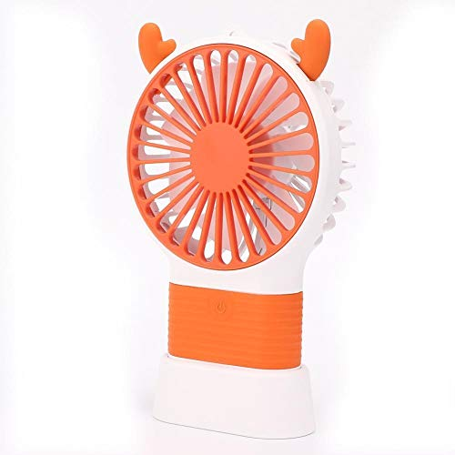Blantye Forma Linda del Ciervo Forma de Escritorio portátil Ventilador de Mano 3-Velocidades Ajuste de Viento Carga USB (Naranja)