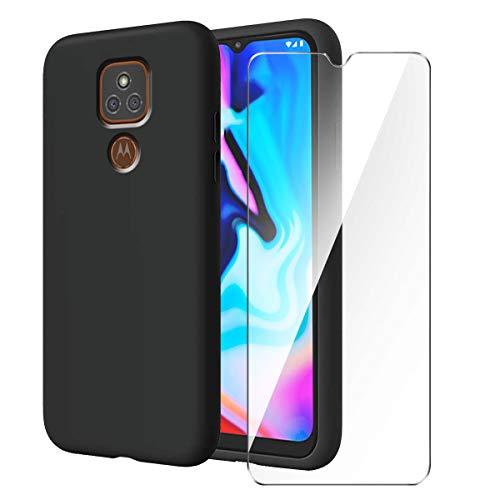 LYZXMY Funda para Motorola Moto E7 Plus/Moto G9 Play + Protector de Pantalla Vidrio Templado Película Protectora - Negro Carcasa Silicona TPU Suave Caso Case para Motorola Moto E7 Plus (6.5')