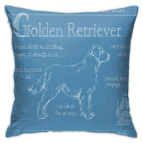 Popular Fashion Element Pillowcase Square Pillowcase 18x18 Inch Living Room Sofa Bedroom-Blueprint Golden Dog