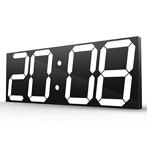 XiaoDong1 Reloj de pared digital de pantalla grande LED, alarma electrónica, pantalla de temperatura, control remoto de 30 m, para casa/exterior/ocasiones públicas (44,7 x 16 x 2 cm) (color blanco)