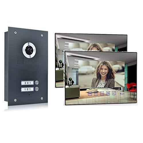2 Familienhaus Video Türsprechanlage 7'' Monitor Kamera 170° Anthrazit, Farbe: Ohne, Größe: 2x7'' Monitor Spiegel ohne WLAN Außenstation anthr