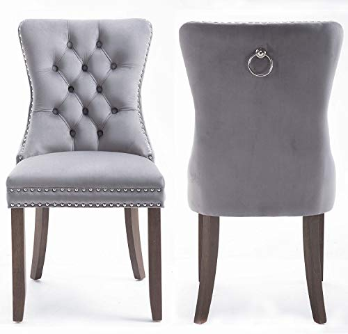 Blue Tufted Fabric Dining Chairs Set of 2, Velvet Elegant Upholstered Kitchen and Dining Room Chairs, with Silver Studded Nailhead Trim and Pulling Handle, Solid Rubber Wood Legs, US Stocks