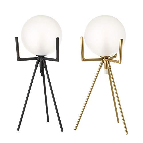 Pack de 2 Lámpara de mesa con tulipa de metal y cristal 15x15x34 cm color negro y dorado